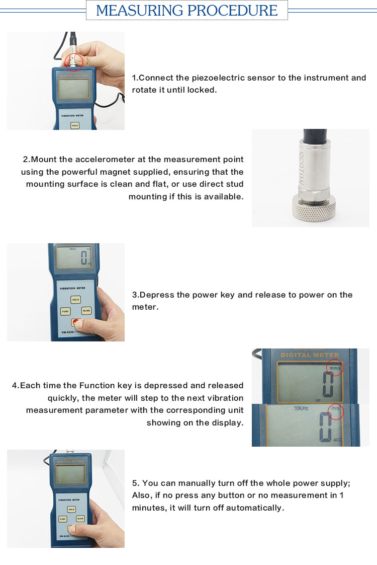 High sensitive digital measure precision sensitivity accelerometers vibration meter