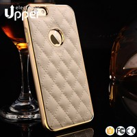 Best quality hybrid metal cell phone bumper cover with glorious back leather case for iphone 5 5s 6 6s