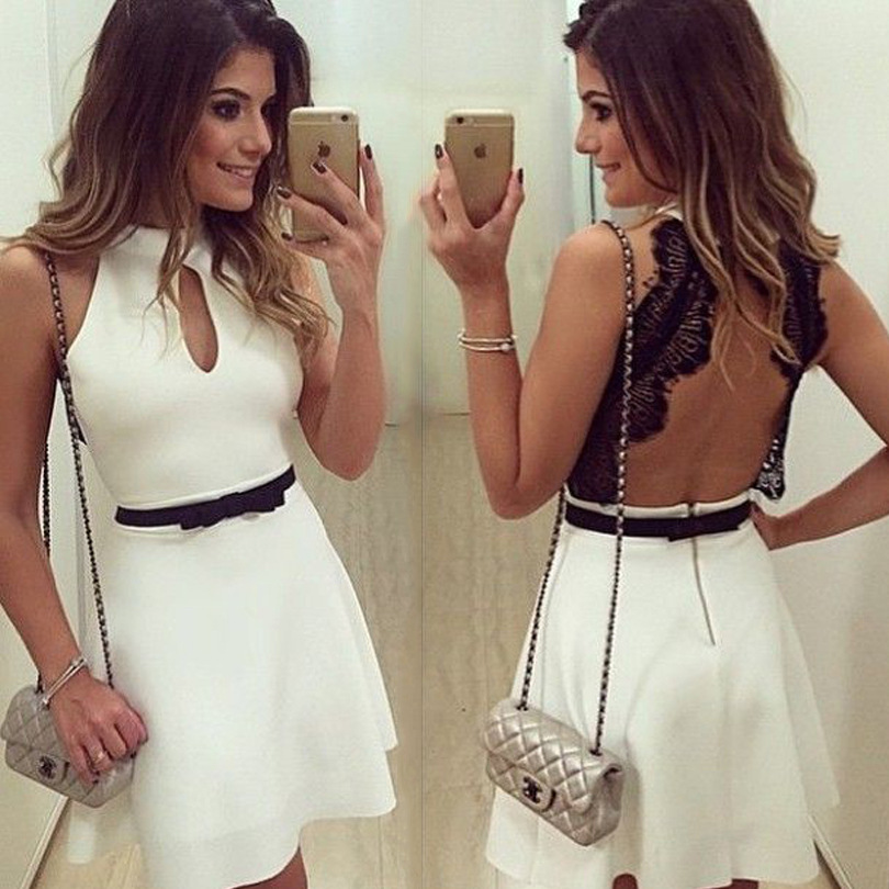 2016 White Chiffon Lace halter neck sleeveless dress for Women