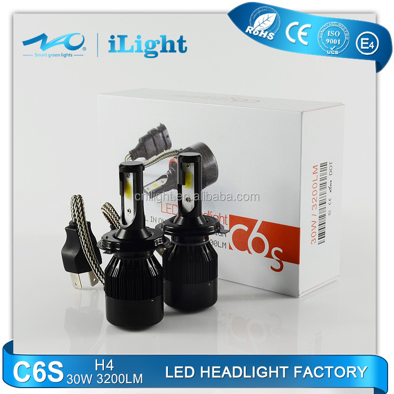 factory high quality 12V -24V car LED headlight H4 bulb led headlight high/low beam