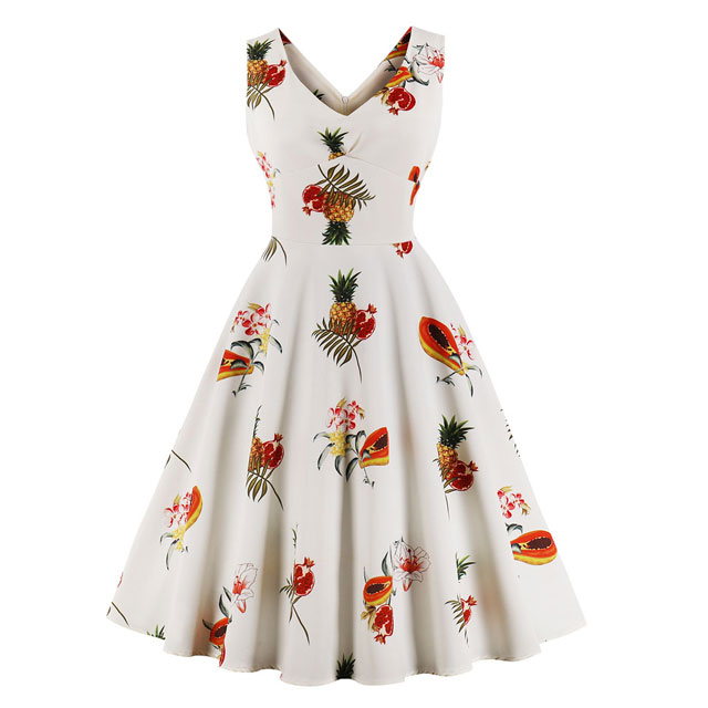 Women's Ladies Empire Embroidery Waist Pineapple Tropical Fruit Vintage Swing Lace Evening Dress