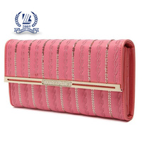 trendy designer PU leather embroider money clip wallet