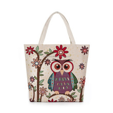 Casual Large Capacity Floral Bags Daily Use Shopping Bag Owl Canvas Handbags