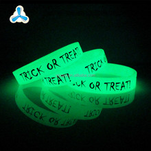 Promotional custom cool print glow in the dark wristbands for events,rubber silicone bracelet band