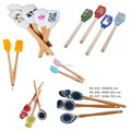 Food grade non stick silicone spatula with wooden handle