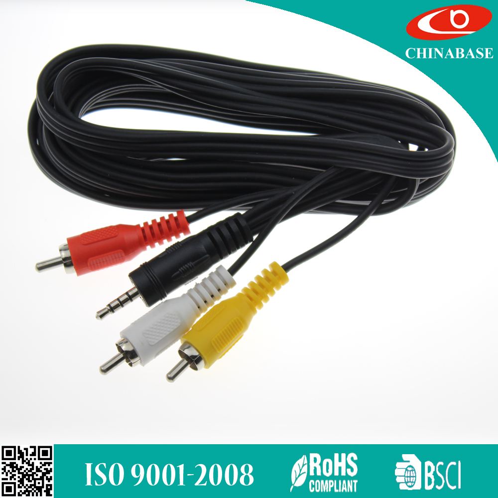 highest quality set top box 1.5m RCA CABLE Audio cable rca cable tv plug rca plug to speaker wire 4pin 3RCA