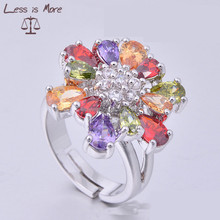 wax pave set colorful cz stone flower ring rhodium plated copper ring