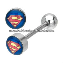 Surgical steel tongue ring with superman logo body jewelry
