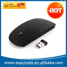 2015 Hot Black Rubber Surface 2.4G usb optical Flat travel wireless mouse for XP,windows and ISO systems