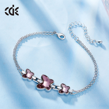CDE original crystals from Swarovski factory bulk wholesale fashion hand jewelry butterfly charm bracelet