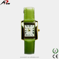 fashion Green flavor PU leather Japan movement quartz lady watches fancy kid watch