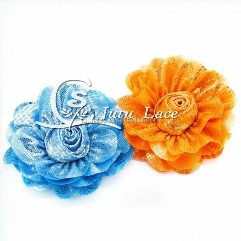 3'' rose shiny flower , glitter hair flower , shabby shiny flower for hair accesories apparel accessories