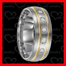 Diamond Simulated Tungsten Ring Wedding Band for Men