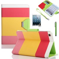 Colourful PU Leather Wallet Flip Cover Case For iPad Air & iPad 2/3/4 & iPad Mini