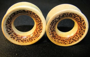 Crocodile wood gauge ear flesh tunnels, earlets, eyelets with coconut inlay