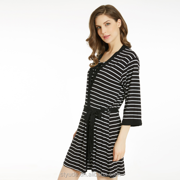 Stripe Three Quarter Sleeve Sleeping Robe Three Pieces Nighty