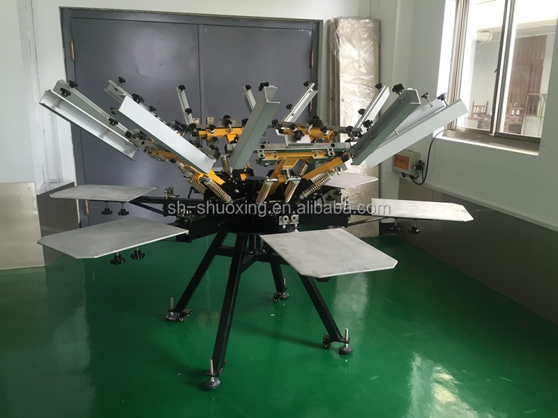 Manual carousel textile screen printing machine,best quality T-shirt screen printer