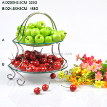 Wholesale Double Layer Glass Plate With Silver Stand Cake Fruit Dinner Plate For Home Decoration
