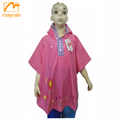 Children pink hoody clothing extra wide rain poncho