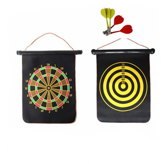 "Roll Up 12"" Double-side Safety Magnet Dartboard Magnetic Dart Board for Kids Gift"