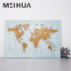 World Map hand painting 3d oil painting on canvas