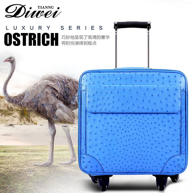 High-end Factory customized ostrich leather luggage for travel