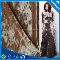 Warp Knitted Crushed Velvet Fabric Shiny and Stretch Soft Feeling for Dress