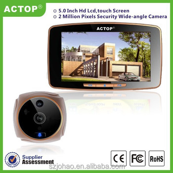 China supplier big 5 inch touch screen GSM infrared digital door peephole viewer