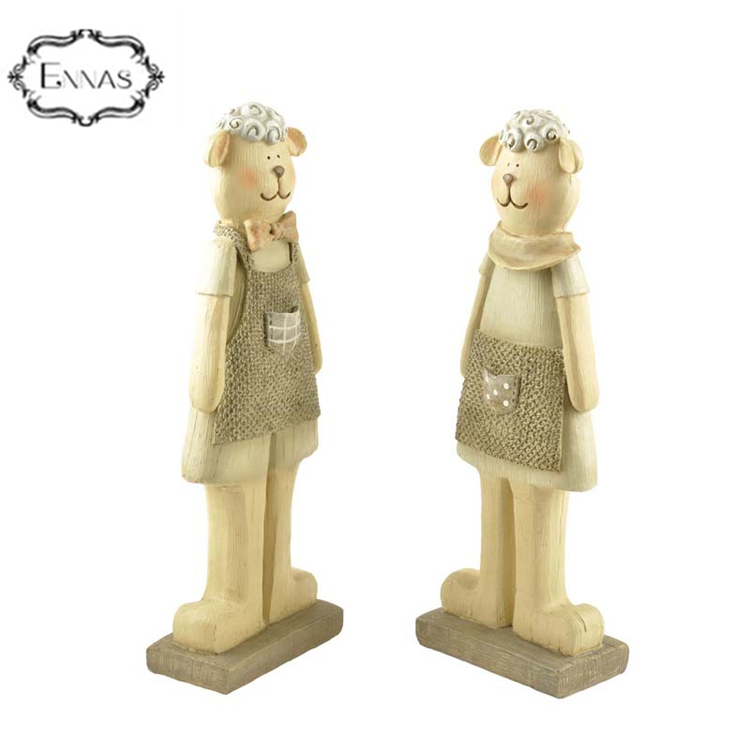 Polyresin couple sheep firgurines for garden decoration