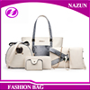 China supplier custom promotion fashion free pattern new leather beige 5 pcs handbag for women