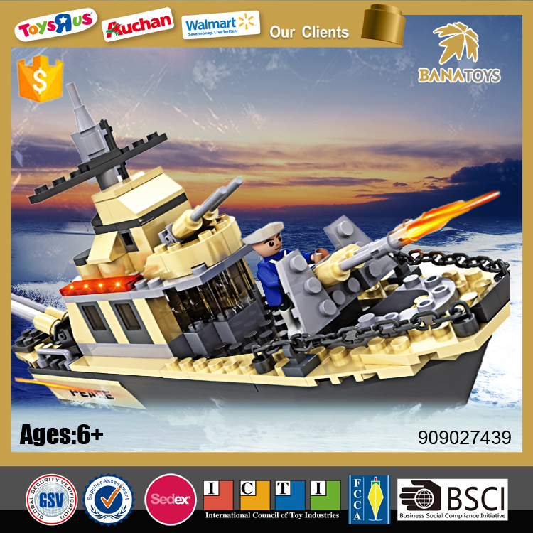 2016 Children building block puzzle design military boats for sale