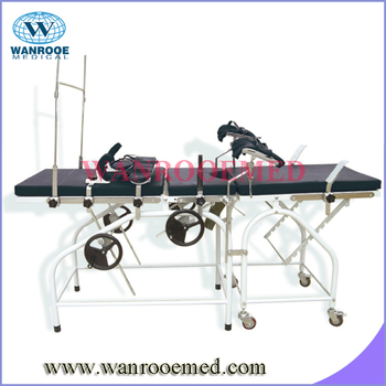 A-2004 Stainless steel portable delivery bed with anesthesia screen