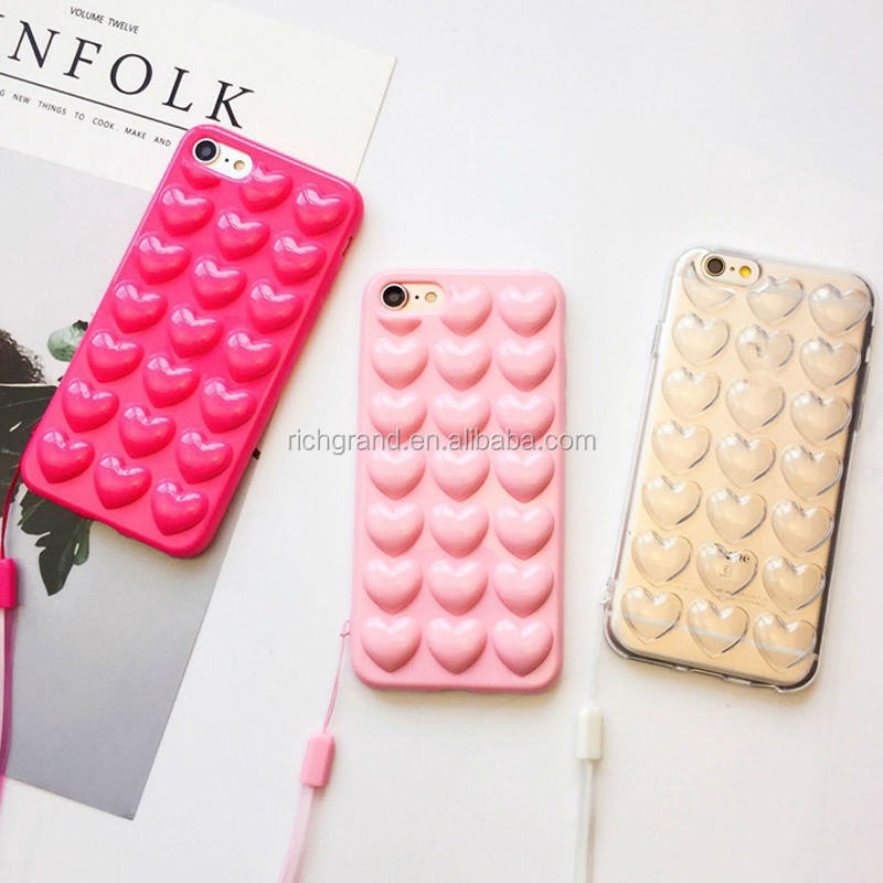Korean Love Heart Jelly Candy Soft Silicon TPU Back Cover With Lanyard Phone Case For iphone X 8 8 Plus 7 7 Plus 6S 5S SE