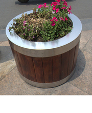Street Wooden Flower Pots, Garden Wood Flower Planter Pots