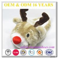 Wholesale cheap adults big head animal reindeer novelty christmas funny plush slipper