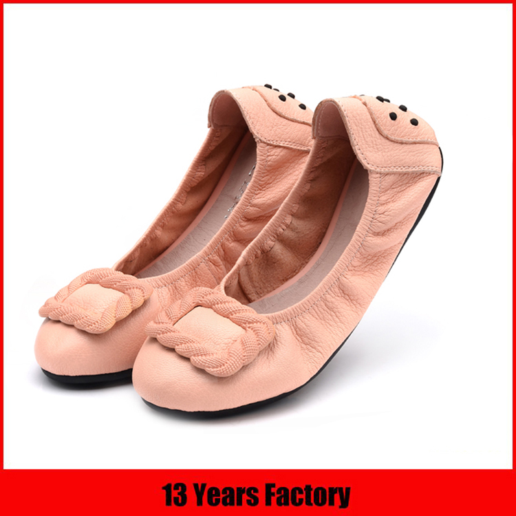 Comfortable Sheep Leather Flat Foldable Ballet Shoes