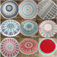 100% cotton custom printed mandala round beach towel