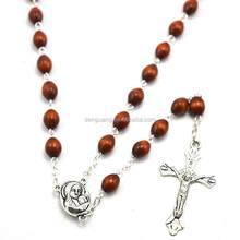 Holy wooden catholic rosary with Holy soils Madonna figure center piece rosary