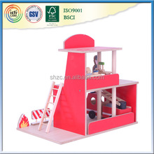 Educational toys wooden mdf red fire station toy