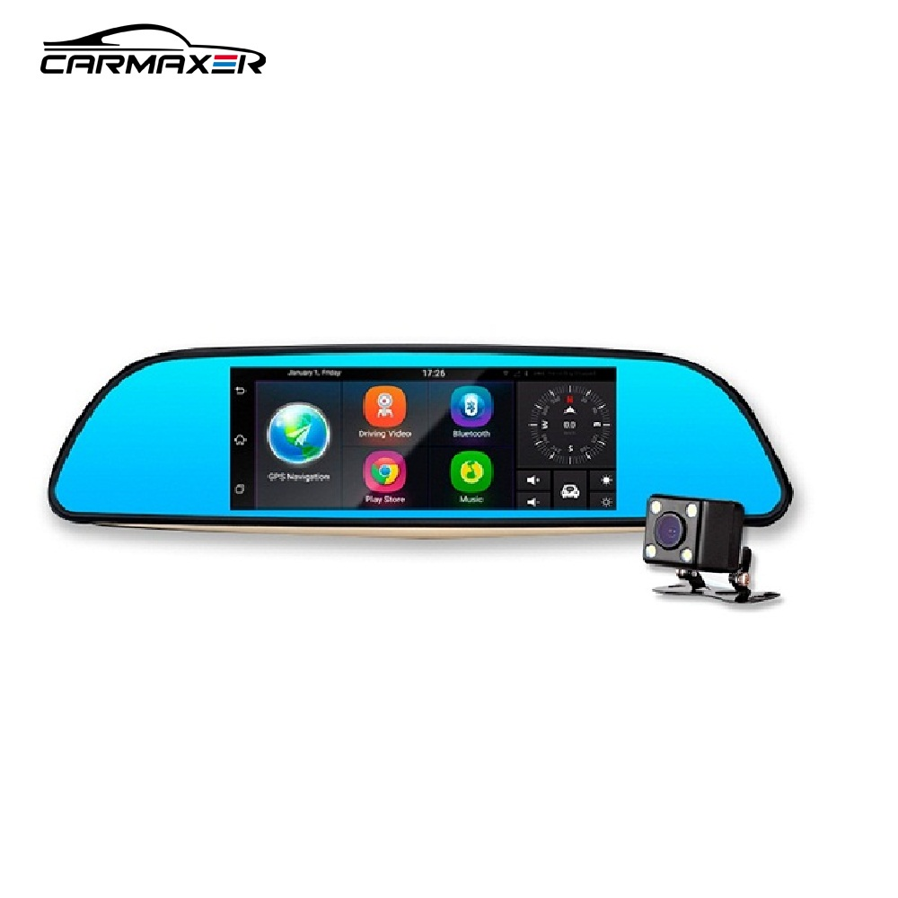 Hot sales car dvr gps with 3G cameras Dual lens 4G mirror android