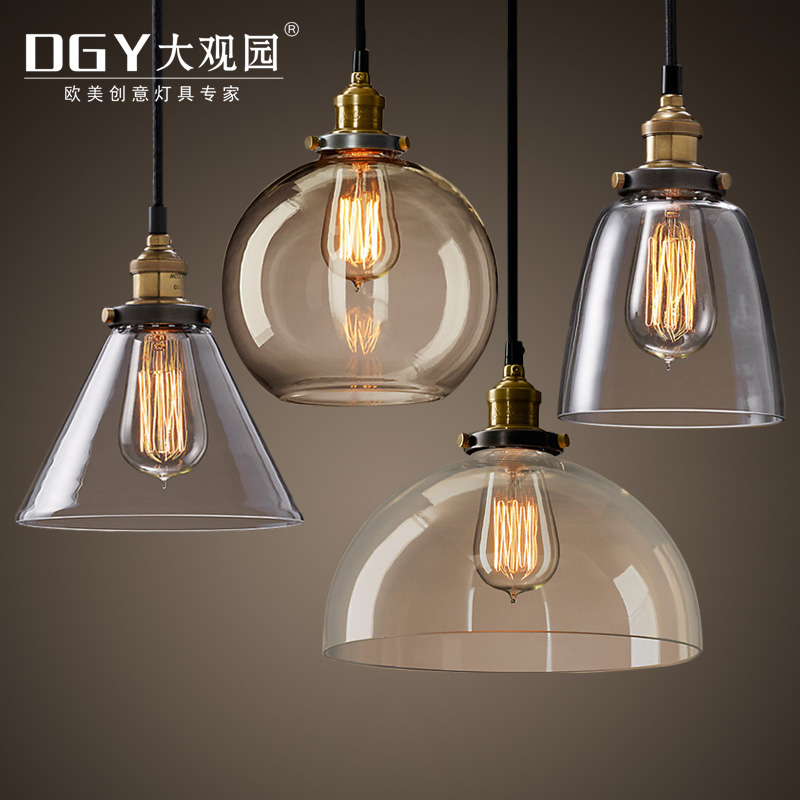 China vintage lamps wholesale clear glass ball retro pendant lights