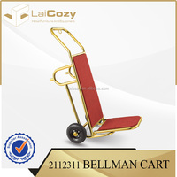 Titanium Gold Plated Used Restaurant Hotel Luggage Cart Hand Trolley