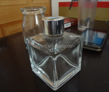 50ml Square Transparent Aroma Reed Diffuser Glass Bottle With Shining Aluminum Silver Cap