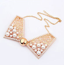 new hot Euro lady jewelry sweet luxury pearl bow false collar necklace