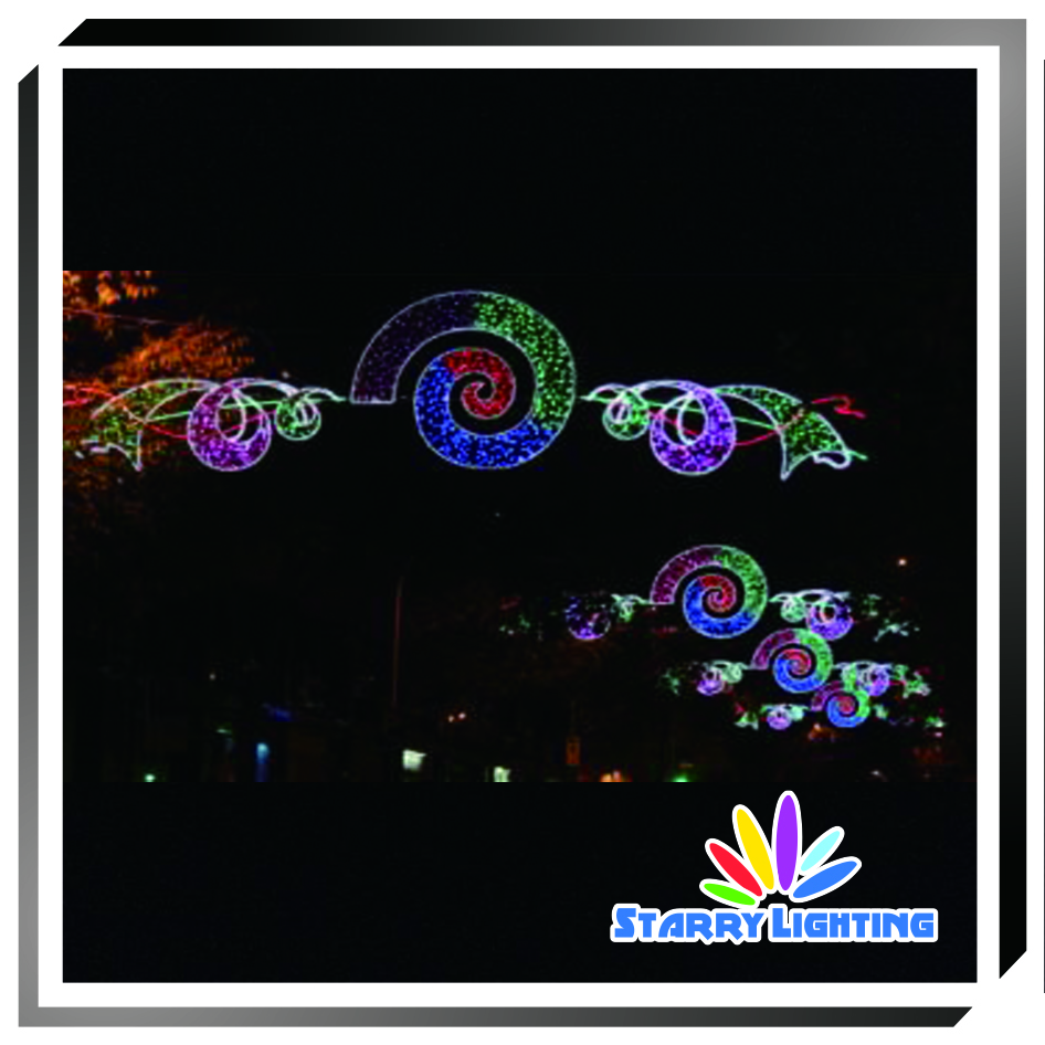 Holiday decoration across street LED decoration motif lights 3D Umbrella