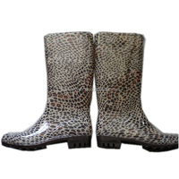 sexy ladies leopard print jelly water shoes,durable women gardening overshoes,OEM PVC rain boots