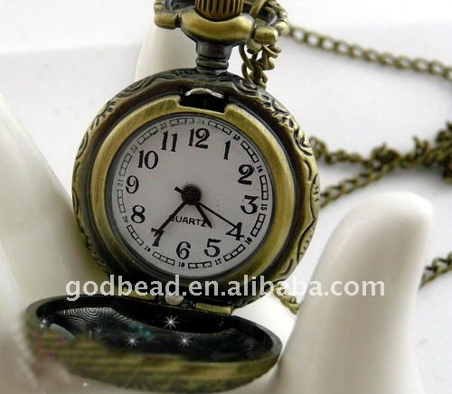W213 wholesale Antique brass bronze pocket watch chain charm pendant watch necklace nickel free lead free