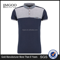 MGOO Fashion Style Offical Navy Blue Golf Polo Shirts With Pockets Chest Panel Striped