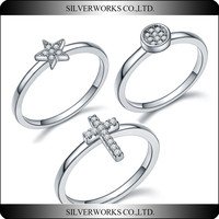 Fashion Design 925 Sterling Silver Star Cross Sun Rings Set pray rings wholesale