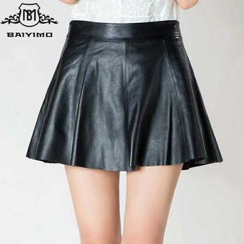 Autumn Winter Pleated Pencil Casual A-Line PU Black Mini Tutu Sexy Women Skirt